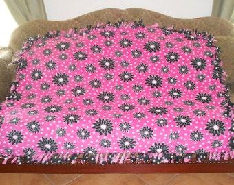 Black Flowers on White Polka Dot Pink Reverses to Pink Flowers on White Polka Dot Black Fleece Tie Blanket No Sew Fleece 48x60 Approximate