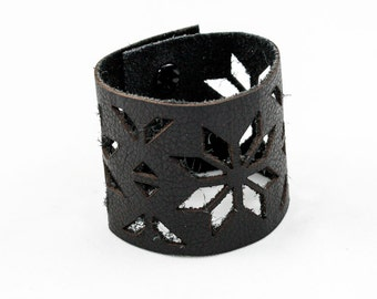 Leather Cuff Bracelet - Ethnic Pattern Cutouts (Black) - Size Medium