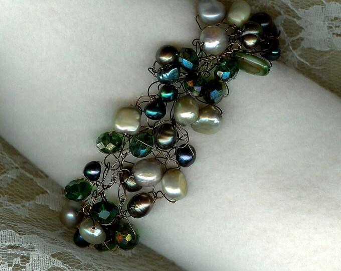 Green Shades Wire Crochet Bracelet