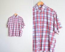 SALE / vintage men's '90s red, white & blue SUMMER PLAID short sleeve button-up shirt. size l (short).