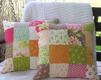 Luxurious Quilted Pillow Cover Pair 18 x 18 -  With Faux Down Inserts - Honeysweet Patchwork