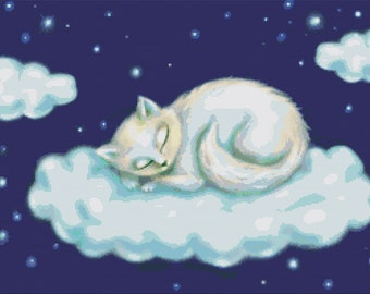Cat Cross Stitch Kits By Fluff  Kitten on a Cloud  - Cat Sleeping NeedleCraft