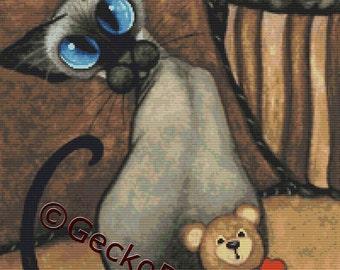 Siamese Cat Cross Stitch, Cute Cross Stitch, Counted Cross Stitch, Cross Stitch Kit, DMC Materials,'I got Your Back', AmyLyn Bihrle