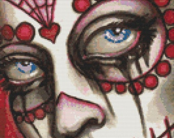 Sugar Skull Cross Stitch, Miranda, Cross Stitch Kit, Day of the Dead Cross Stitch,  Sugar Skull By Shayne of the Dead, Counted Cross Stitch