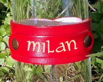 PERSONALIZED Leather Bracelet: Your First Or Last Name, Favorite Word Engraved In Handmade Red Leather Bracelet - FREE Shipping Wordlwide
