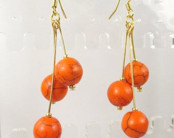 Orange triple dangle earrings made with magnesite - Halloween earrings - pumpkin earrings
