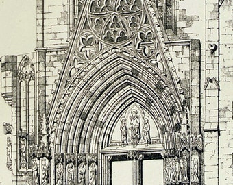 1872 Large Antique Plate of Gothic Architectural Details of Erfurt Cathedral. Plate 65 - Architectural Print