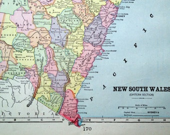 1899 Vintage Map of New South Wales, Australia - Antique New South Wales Map