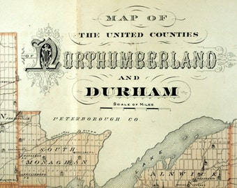 1878 Large Rare Vintage Map of Northumberland and Durham, Canada - Handcolored