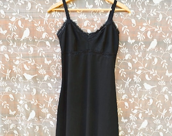Full Slip Organic Cotton Bamboo Lingerie Black with your choice of Lace Dress Extender Sexy Slip or Soft Nightie Sleepwear Intimate Eco
