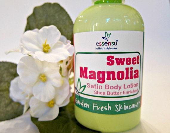 Sweet Magnolia Shea Butter Satin Body Lotion with Vegan Silk Protein , Soothing Aloe Vera   Replenishing Luxury Formula   Dry Skin - 4 oz