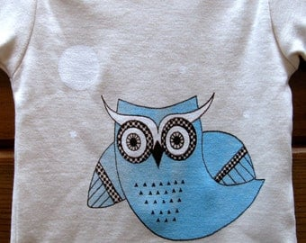 Flying Owl Organic Cotton Onesie for Babies or T Shirt for Children