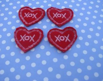 red hearts Felties Felt Embellishments