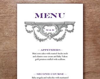 Gray and Violet Vintage Monogram Printable Wedding Menu Template - Wedding Menu - Printable Menu Template - Menu Template - Menu Cards