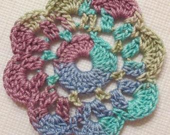 Crochet Flowers, Mini Doilies,Variegated,  Appliques - set of 10