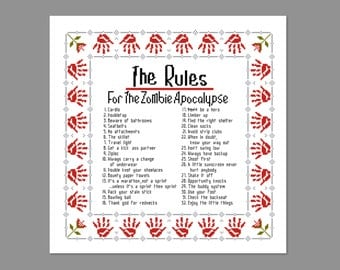 Zombieland Zombie Rules Quote Cross Stitch PDF PATTERN ONLY