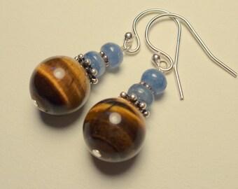 Tigers Eye Earrings - Blue Kyanite Earrings - Brown Earrings - Dangle Earrings - Natural Stone Jewelry - Neutral Earthy Earrings