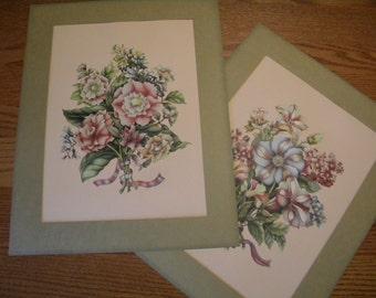 Vintage Floral Prints - Set of Two - Mated