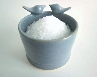 Mother's day gift, Salt pig - sculptured birds - Salt Cellar Kitchen Storage - Salt Keeper - Ceramic Pottery, Food prep