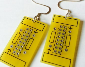 Honey Bee Upcycled Computer Board Earrings