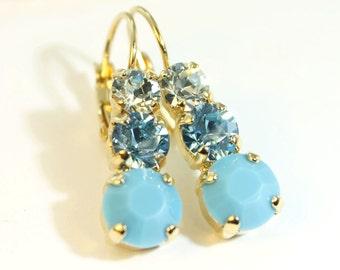 Turquoise Drop Earrings Aqua Blue Swarovski Crystal Gold Earrings, Aqua Wedding Aqua dangle Crystal Earrings,Gold finish,TURQUOISE SKY,GE45