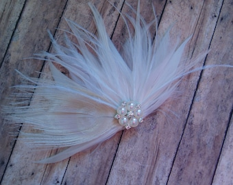 Wedding Feather Hair Accessory Fascinator Bridal Fascinators hairpiece hairclips - IVORY