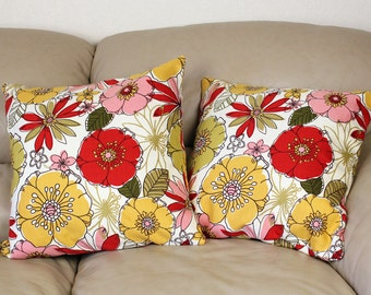 """Set of TWO Mill Creek Decorative Throw Pillow - Red and Gold Florals - 16"""" or 18"""" Covers, B3-5"""