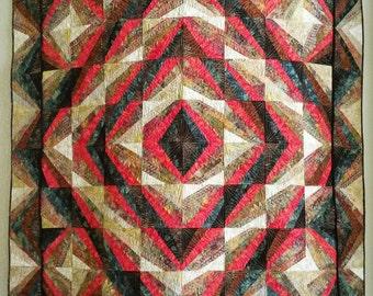 Fall Quilt - Stunning Modern Quilt in Contemporary Pattern Batiks - Creams, Browns, Orange