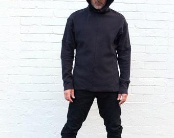 Men's Black Handmade Hoodie Size  EXTRA LARGE. Minimalist mens fashion clothing.