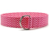 Ladies Hot Pink and White Chevron Fabric Belt in Custom Sizes Small Medium Large Preppy Fabric D Rings Women's Belt - 1.5 inch Width