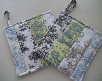 Toile Pot Holder ~ Set of 2 Toile de Jouy Pot Holders ~ Country French Pot Holder