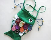 Girls Purse Frilly Fish Green  Multi Colored Scales Orange Purple Pink Floral