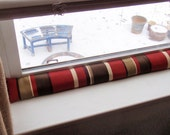 Draft Stopper - Handmade AROMATIC Balsam Fir & Rice - Solarium's Sangria Stripe - Energy Saver for Drafty Door and Windows - Draft Snake