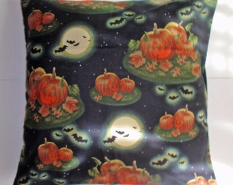 """HALLOWEEN Throw Pillow Cover, Halloween Decor, Spooky Night Pillow Cover, Jack 'o Lanterns, Bats & Full Moon, Whimsical, 16x16"""" Square Cover"""