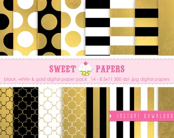 Gold Foil, Black & White Digital Paper Pack GFB01 - Commercial or Personal Use - By Sweet Papers