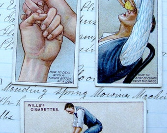 100 Year Old Antique Medical First Aid Collector Cards Lot of 3