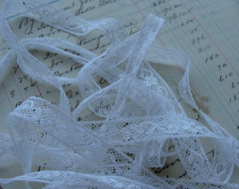 Vintage French White Netted Lace Yardage