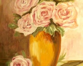 Pink Roses 11x14 Acrylic Painting