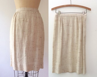 1950s skirt / 50s pencil skirt / Weft & Warp skirt