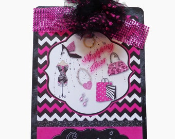 Personalized Clipboard Shopping Diva Hot Pink Fuschia, Black and White Bling Bling
