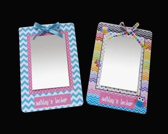 Girls Locker Mirror Personalized Magnetized Board Chevron & Owls