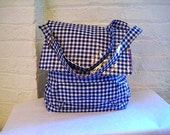 READY TO SHIP Vegan Bag in Oilcloth Gingham, Messenger Crossbody Bag in Navy Blue Gingham