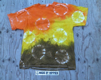 Orange, Yellow and Green Spots N Dots Tie Dye T-Shirt (Fruit of the Loom Size L) (One of a Kind)