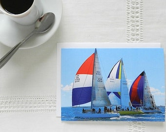 Nautical Stationery, Sailboat Notecard, Blank Greeting Card, Blank Cards with Envelopes, Ocean Note Card, Photo Notecard,Red White Blue Card