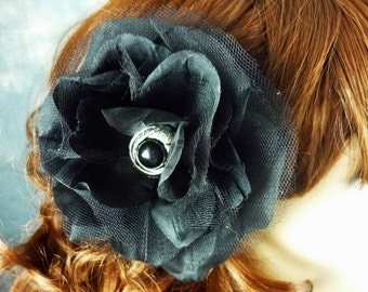 Black Net Hair Flower Floral Accessory