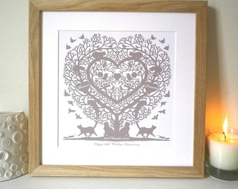 Personalised Cats in a Treeheart Folk Heart Inspired Print