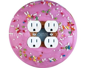 Pink Doughnut Double Duplex Outlet Plate Cover