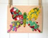 Greenie Butterfly on Wood Print