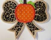 Iron On Applique - Fall or Autumn Pumpkin Bow for Halloween or Thanksgiving