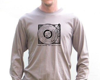 Mens Organic American Apparel Tshirt - Record Player Vintage Design - XS, Small, Medium, Large, Extra Large, XXL